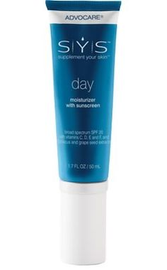 SYS™ Day is a daily moisturizer with SPF 20! SYS Day is rich in antioxidants and vitamins C, D, E, and F nourishing your skin to help it appear fresh and smooth. Get yours today: https://www.advocare.com/140156704/Store/ItemDetail.aspx?itemCode=Y5100&id=S