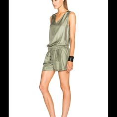 Brand-new adorable Rag & Bone silk jumper 100% silk. Gorgeous neutral green color. The photo doesn't do this justice. Brand-new never worn with tag attached. It's a perfect fit with the drawstring waist so everybody looks great in this romper. Razorback. Beautiful!! rag & bone Dresses