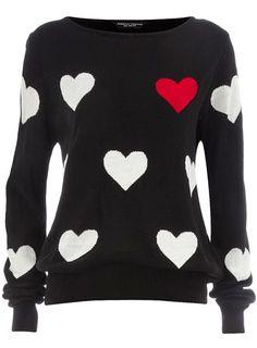 Black big heart jumper