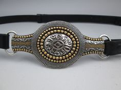 Chicos size M/L dark brown leather belt with silver and brass rustic medallion #Chicos