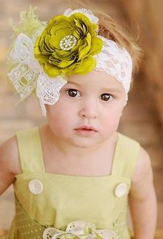 Green Ruffle Ranuculus Flower Rhinestone Bling Center Cream Headband