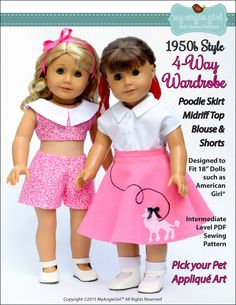 Pixie Faire My Angie Girl The 4-Way Wardrobe Doll Clothes Pattern for 18 inch American Girl Dolls - PDF by PixieFairePatterns on Etsy https://www.etsy.com/listing/241775519/pixie-faire-my-angie-girl-the-4-way