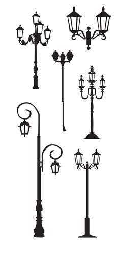 KLDezign SVG free - Street lights and lamp post Silhouette Cameo, Silhouette Portrait, Silhouette Files, Silhouette Projects, Street Lamp, Digital Stamps, Svg Cuts, Diorama, Zentangles