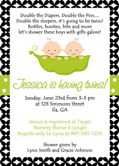 Two Peas In A Pod Baby shower Invitation. Cohen Lane
