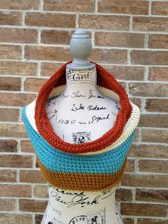 Umber & Turquoise Color block Cowl by Industrial Whimsy, $68.00 #colorblock  #cowl #handknit