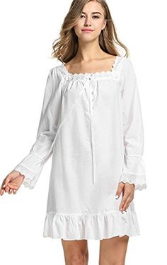 Halife Womens Vintage Cotton Long Sleeve Ruffle Lace Trim Nightgown  Sleepwear M White    Find 40244a53b