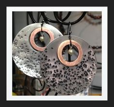 Hammered silver disc with copper washer and pearl dangle.  By LjBlock Designs