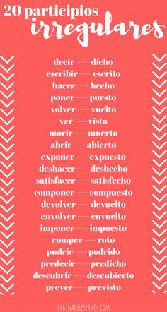 20 participios irregulares del español | La página del español
