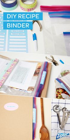 An easy and organized recipe binder made with Ziploc® bags and washi tape. Such a simple DIY. The bags keep your recipes safe from cooking splatters and grease. Love the free printable tabs for extra organizing.
