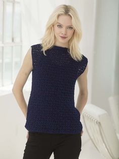 Perfect Sleeveless Crochet Tunic - Work the shell stitch to get this fabulous crochet clothing piece.