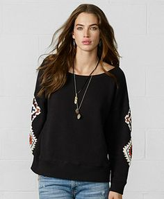 Denim & Supply Ralph Lauren Scoop-Neck Beaded Sweatshirt polo black/multi cotton szS 98.00