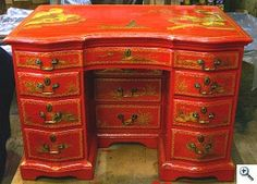 Several colors of gold and platinum leaf used on this rare example of American Chinoiserie Queen Anne Desk, after