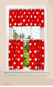 Love the polka dots.  I would love to do this for a little cafe window in the kitchen.