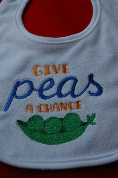Cute Embroidered Baby Bib  Give Peas a Chance by sewsewcutesewing, $6.00