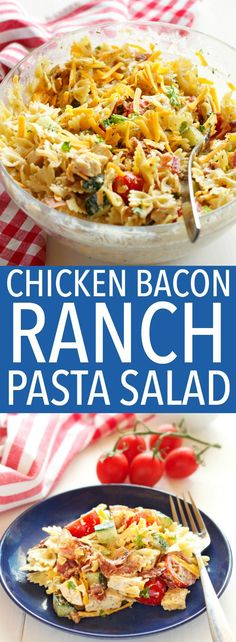 This Chicken Bacon Ranch Pasta Salad is the perfect summer pasta salad featuring grilled chicken, crispy bacon, veggies and creamy ranch dressing! Recipe from thebusybaker.ca