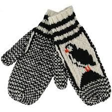 Knitted Mittens With Puffin Pattern Knitted Mittens Pattern, Loom Knitting Patterns, Crochet Mittens, Crochet Gloves, Knitting Socks, Knitted Hats, Knit Crochet, Knit Socks, Knitting Projects