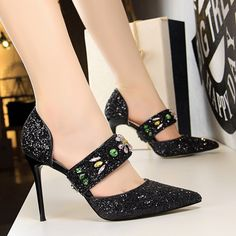 New 2018 Fashion Side Open Bling Rhinestone High Heels Shoes Women Pumps Sexy Luxury Party Wedding Shoes Elegant Pointed Toe Women's Pumps, Shoes Heels, Boat Shoes, Valentino Wedding Shoes, Wedding Boots, Super High Heels, Pointed Toe Pumps, Cowgirl Boots, Womens High Heels
