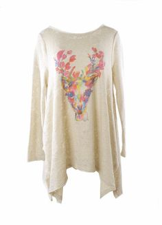 Re-Stock! Judith March Flowy Sweatshirt With One Of a Kind Deer Head P – DejaVu