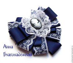 Купить Комплект с галстуком-брошью. - тёмно-синий, галстук-брошь, бантики, 1 сентября, школьный