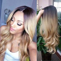 Hanne résistant à la chaleur perruque synthétique Ombre Couleur 1B/27 Long Cheveux Blond et noir Parti perruque: Tweet Matériaux de qualité…