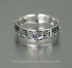 EVERGREEN LAUREL silver mens Wedding Band with Amethyst unisex | Etsy Mens Silver Wedding Bands, Mens Silver Rings, Wedding Men, Unusual Wedding Rings, Jewelry Insurance, Thing 1, Rings Online, Wedding Jewelry, Amethyst