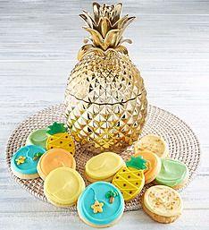 Cheryl's Gold Pineapple Ceramic Cookie Jar