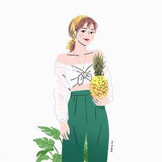 Woman Illustration, Portrait Illustration, Cute Cartoon, Cartoon Art, Korean Painting, Cute Couple Wallpaper, Cute Couple Art, Cartoon Design, Girls Characters