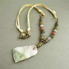 Fancy Jasper Necklace with Deerskin Leather by mamisgemstudio