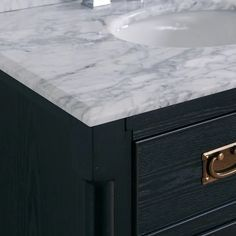 Shop The Gray Barn Finley 64 Inch Black Vanity With Marble