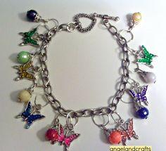 Butterfly Charm Bracelet by angelsandcrafts on Etsy, $15.00