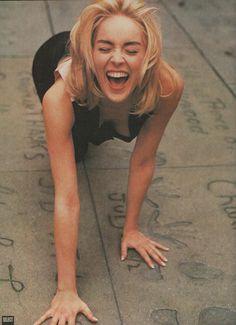 Sharon Stone doing the Hollywood crawl