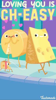 Cute and yummy cheese! Funny Food Puns, Punny Puns, Cute Puns, Corny Jokes, Cute Memes, Cute Quotes, Food Jokes, Food Humor, Funny Stuff