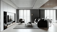 Modern Concept 01 | Apartment | 2019 - Dezign Ark (Beta) Home Interior Design, Modern Interior, Interior Architecture, Black And White Living Room, Apartment Projects, Living Room Tv, Living Room Inspiration, Ceiling Design, Living Room Designs