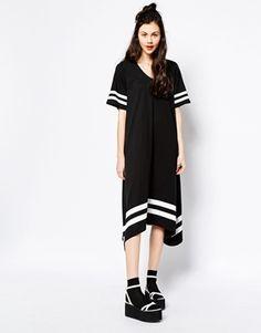 Enlarge Monki Border Stripe V-Neck Dress