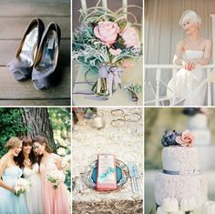 Colours - dusky pink, soft lavender, pastel aqua , eggplant , teal, antique golds, creams and champagne