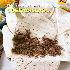 These Sheet Pan Quesadillas Are Brilliant is part of Mexican food recipes - Sheet Pan Quesadilla from Delish com is the best way to make quesadillas for a crowd Mexican Dishes, Mexican Food Recipes, Mexican Meals, Cooking Recipes, Healthy Recipes, Healthy Snacks, Cooking Toys, Pan Cooking, Cheap Recipes