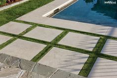 These Lueders limestone pavers are inset into the lawn to define the transition . - These Lueders limestone pavers are inset into the lawn to define the transition from patio to pool, - Pool Pavers, Swimming Pool Landscaping, Swimming Pool Designs, Grass Pavers, Pool Coping, Hampton Pool, Limestone Pavers, Landscape Pavers, Moderne Pools