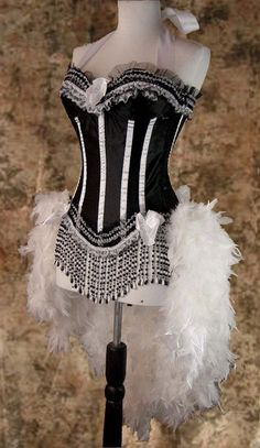 Size M-White & Black Victorian Lace Showgirl Saloon Girl Can Can Moulin Burlesque Rouge Costume w/Feather Train. , via Etsy.