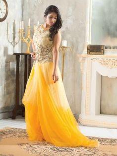Yellow Net Wedding Gown (Free Size)