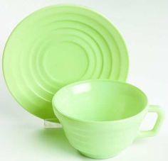 Hazel Atlas Glass Moderntone cup and saucer