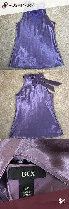 BCX Sleeveless Top Lilac Satin XS Length 23 inches, Width 14.5 inches, pre-owned. BCX Tops Blouses