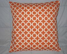 Pillow. Orange. White. Mandarin. Geometric. 18 x 18. Indoor. Outdoor. Accent Pillow Cover. Decorative Pillow Cover. $18.00, via Etsy.