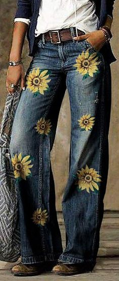 Floral Print Pants, Floral Prints, Vintage Denim, Vintage Floral, Vintage Pants, Vintage Style, Loose Jeans, Loungewear Set, Outerwear Women