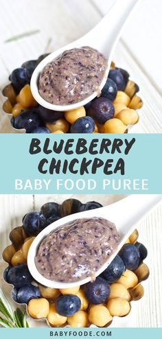 This Blueberry + Chick Pea + Rosemary Chunky Baby Food Puree is a superfood combo to be reckoned with! It's packed with antioxidants, fiber, Vitamin A and Baby Puree Recipes, Pureed Food Recipes, Baby Food Recipes, Homemade Baby Puffs, Homemade Baby Snacks, Baby First Foods, Baby Finger Foods, Vitamin A, Pea Baby Food