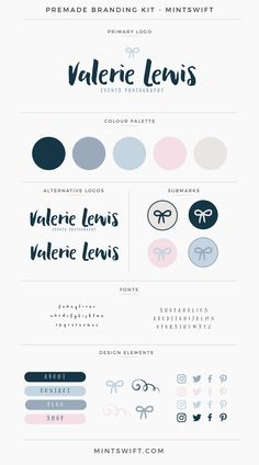 $99 | Valerie Lewis Premade Branding Kit | MintSwift Self Branding, Branding Kit, Business Branding, Branding Design, Logo Design, Logo Inspiration, Site Web Design, Good Notes, Color Swatches