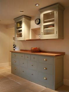 Kitchen idea - buy a free standing sideboard for the bottom. Top can be a fitted wall unit with different configuration (to hold plates etc. Cottage Dining Rooms, Kitchen Dining Living, Living Room Cupboards, Kitchen Cupboards, Free Standing Kitchen Units, Kitchen Sideboard, Kitchen Utilities, Bespoke Kitchens, Buy Kitchen