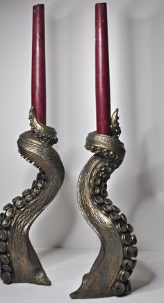 Pair of Tentacle candlestick holders by Dellamorteco on Etsy $140.00 you can't have a Tuscan kitchen without a little ocean inspiration
