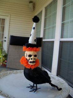 Skeleton Head Crow II A Creepy Halloween Decoration by JeanKnee, $12.00