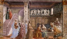 Fresco. St Anne rests in bed, in a richly decorated Renaissance room. Two. https://upload.wikimedia.org/wikipedia/commons/9/91/Birth_of_St_Mary_in_Santa_Maria_Novella_in_Firenze_by_Domenico_Ghirlandaio.jpg