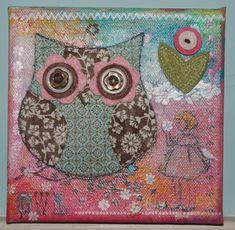 Mixed Media: Fabric Owl Canvas :: LakesideStamper.com - Diane Caro, Stampin' Up! Demonstrator